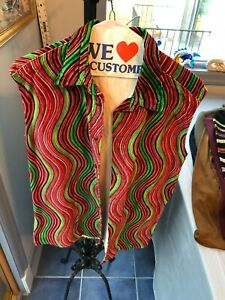 Men's Versace Jeans Couture Velour Shirt -Red, Green, Yellow, Black Wave Pattern