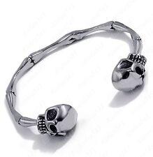 Men's Gothic Silver Skull Skeleton Bone 316 Stainless Steel Cuff Biker Bracelet