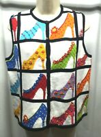 Marisa Christina Hand Knit Sweater Vest S Vintage High Heels Embroidered Beaded