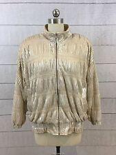 Gold Shiny Metallic Oragami Jacket Coat Womens 2X Zip Front Lightweight Disco