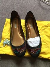 Cynthia Vincent Black Leather Embroidered Ballet Shoes From Anthropologie Uk 5