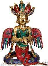 "Naga Kanya Snake Woman 17.5"" Brass Stone Work GOD Hindu Statue Figure 11.25 KG"