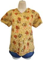 UA Scrubs Fall Leaf Print Scrub Medical Nursing Uniform Top Size XS Regular
