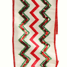 Red Green White Craft Christmas Ribbon with Sequins 4in  me r3527701 NEW RAZ