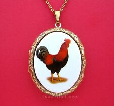 Pendant Necklace for Birthday Gift Chickens! Porcelain Red Rooster Cameo Locket