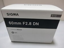 Brand NEW  Sigma 60mm F2.8 DN Art  Black Lens for Sony E-Mount Cameras