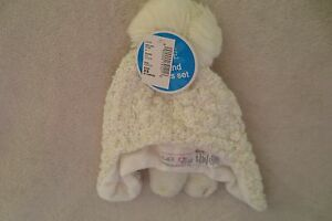 The Children Place Baby Girl Hat and Mittens Pom-Pom Ivory Size X Small 6-12 Mos