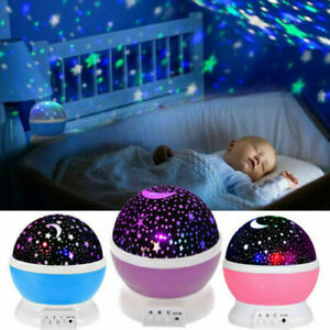 Rotating LED Starry Star Moon Projector Night Light Baby Bedroom Mood Lamp