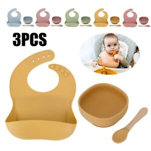 Baby Suction Bowl with Bamboo Spoon Fork Set Weaning Bib Silicone Plates Feeding