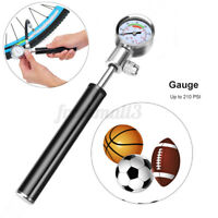 Portable MTB Bicycle Bike Tire Tyre Inflator Tool Hand Pump Air Pressure Gauge