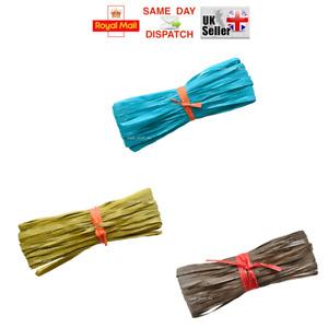 50m -> 200m OLIVE BROWN TURQUISE Raffia Paper Gifts Ribbon Decorating Scrapbooks