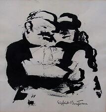 Sigfrid Bengtsson 1898-1985,Uomo con Modello nave,Illustrazione dell'inchiostro,