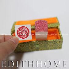 2cm Stone Seal - Chinese Dragon Stamp Chop (Round) #1 w/. Gift Box
