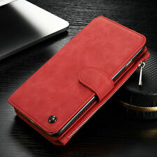Genuine Leather Case Magnetic Zipper Wallet Card Cover For iPhone 6 6S & 7 Plus