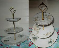 3 TIER PASTRY CAKE PLATE STAND DISPLAY WHITE BLUE GRAY GOLD EDGE QUEEN ANN