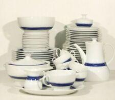 Grand service à déjeuner vintage porcelaine blanche liseret bleu Thomas Germany
