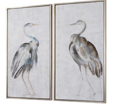 """Horchow Z Gallerie Framed Wall Art Birds Transitional Coastal  Set of TWO XL 47"""""""