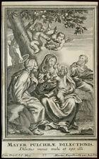 santino incisione 1700 LA SACRA FAMIGLIA E S.ANNA engelbrecht