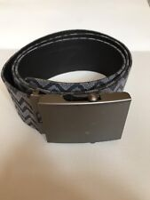 Missoni Belt Unisex Signature Flame Stitch Fabric Gunmetal Buckle Adjustable