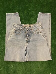 Vintage 90s Womens Zena High Rise Mom Jeans Size 11 Button Fly Light Wash Denim