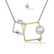 18k yellow white gold gp made with SWAROVSKI crystal pearl pendant necklace