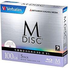 1000 Years Verbatim Bluray M-Disc BD-R XL 100GB 4x Speed Inkjet Printable 5 Pack