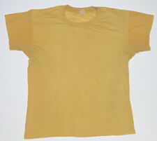 Authentic 1950s T-shirt Vintage Solid Yellow 50/50 Polyester Blend Made In USA M