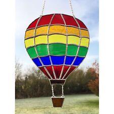 Fatto A MANO VETRO COLORATO Hot Air Balloon Suncatcher Arcobaleno colorato