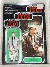 Vintage Star Wars 1984 HAN SOLO TRENCH COAT AFA 80/80/85 TRI-LOGO CARD BACK MOC!