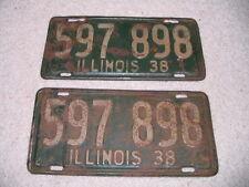 1938 Illinois Vintage License Plates MATCHING PAIR