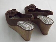 Womens American Eagle PLATFORM Wedge Open Toe Sling Back Heels Fabric shoes 8.5