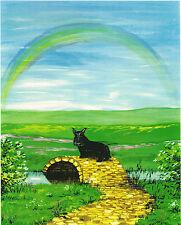 8X10 PRINT OF PAINTING SCOTTISH TERRIER RAINBOW BRIDGE RYTA PET HEAVEN FOLK ART
