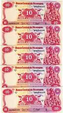 LOT, Nicaragua, 5 x 10 cordobas 1979, Pick 134 E-Serie UNC