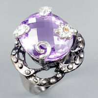 Vintage13ct+ Natural Amethyst 925 Sterling Silver Ring Size 7.75/R123239