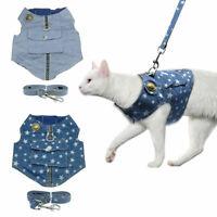 Cat Walking Jacket Harness & Lead Adjustable Pet Puppy Kitten Denim Clothes Vest