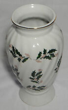 White Swirl Vase with Christmas Holly
