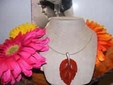 STUNNING! Artisan CARNELIAN Carved LEAF Pendant Collar NECKLACE Sterling Silver