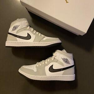 New Nike Jordan 1 Mid Fog Grey Smoke BQ6472-015 WMNS Sz 5.5, 7, 7.5, 10, 11, 12