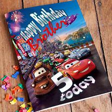 Cars Illuminazione McQueen Personalizzato Compleanno Carta! spedizione veloce 1st classe!