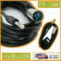 1X 1/4 in TRS to XLR3M DJ Sound Audio Balanced Interconnect Studio Cable 15 Feet