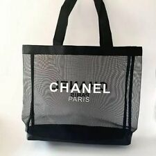 NEW CHANEL VIP MESH BLACK AUTHENTIC SHOULDER TRAVEL COSMETIC MAKEUP TOTE BAG