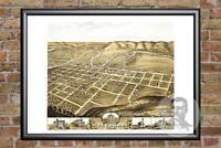 Old Map of Decorah, IA from 1870 - Vintage Iowa Art, Historic Decor