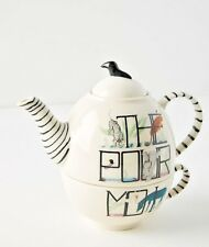 NEW ANTHROPOLOGIE ANIMAL ALPHABET TEA POT WITH ATTACHED CUP FLORENCE BALDUCCI