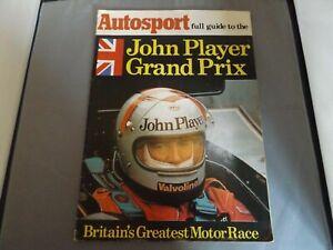 1977 AUTOSPORT JOHN PLAYER GRAND PRIX GUIDE HAND SIGNED BY MARIO ANDRETTI
