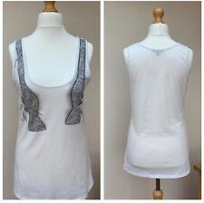BEN SHERMAN White Bow Tie Print Vest Top Size L UK 12 - 14