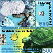GALAPAGOS 500 SUCRES 2012 POLYMER NEW HOLOGRAM UNC
