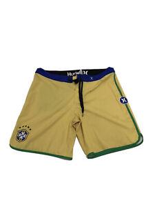 Men's Hurley Phantom Board Shorts Brazil Yellow Blue Size 36