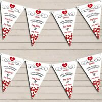 Hearts Party Decoration 10th Any Year Wedding Anniversary Bunting Party Banner