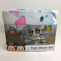 Disney Tsum Tsum Twin Sheet Set Fitted Flat Sheets Pillow Case Minnie Mickey New
