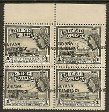 GUYANA GROSSLY MISPLACED OVPT 1967 1c SG420 FINE USED BLK OF 4